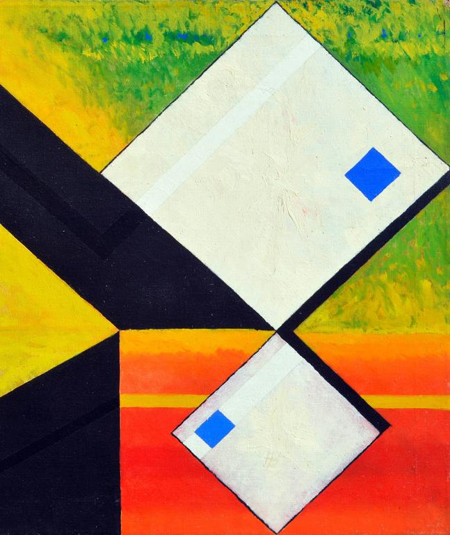 Stunning white cubes, a substantial abstract expressionist oil painting by James McCray (American, 1912-1993).  Unsigned, with his inventory number scheme on stretcher