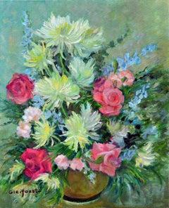 Mid Century Chrysanthemums & Pink Roses Still Life