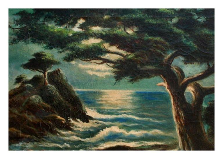 Nocturnal Monterey Cypress Point - Painting by William M. Lemos