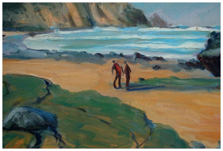 New England Beach Walk - Painting by Russ Webster