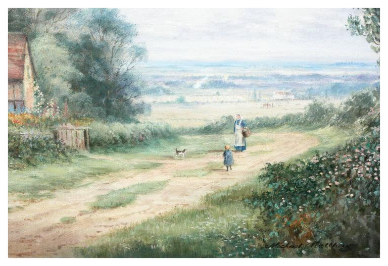 A Good Day's Walk - Cumberland, England - Brown Landscape Painting by Michael Matthews