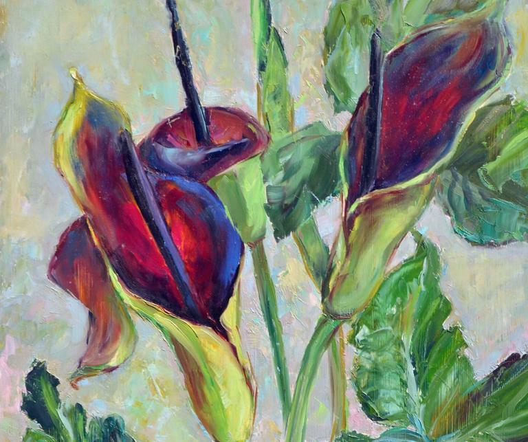 Mid Century Burgundy Calla Lilies - Painting by Helen Enoch Gleiforst
