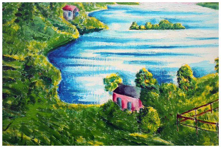 Sunrise on the Horizon - Idyllic Landscape - Brown Landscape Painting by Eloisa Schwab