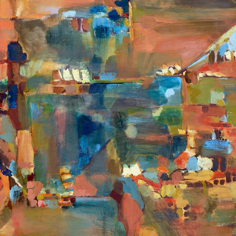 Berkeley towards San Francisco by Brockman - Brown Abstract Painting by Unknown