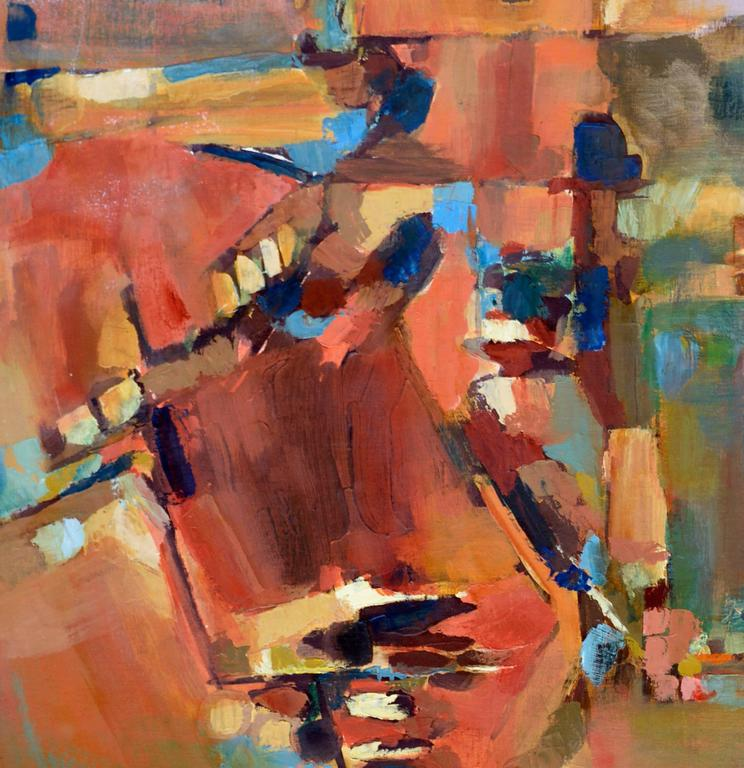 Berkeley Hills looking to San Francisco, a bold abstract expressionist oil painting by an unknown California and Bay area abstract Expressionist named Brockman (American, 20th Century). Signed