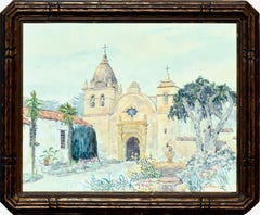Carmel Mission Watercolor Landscape