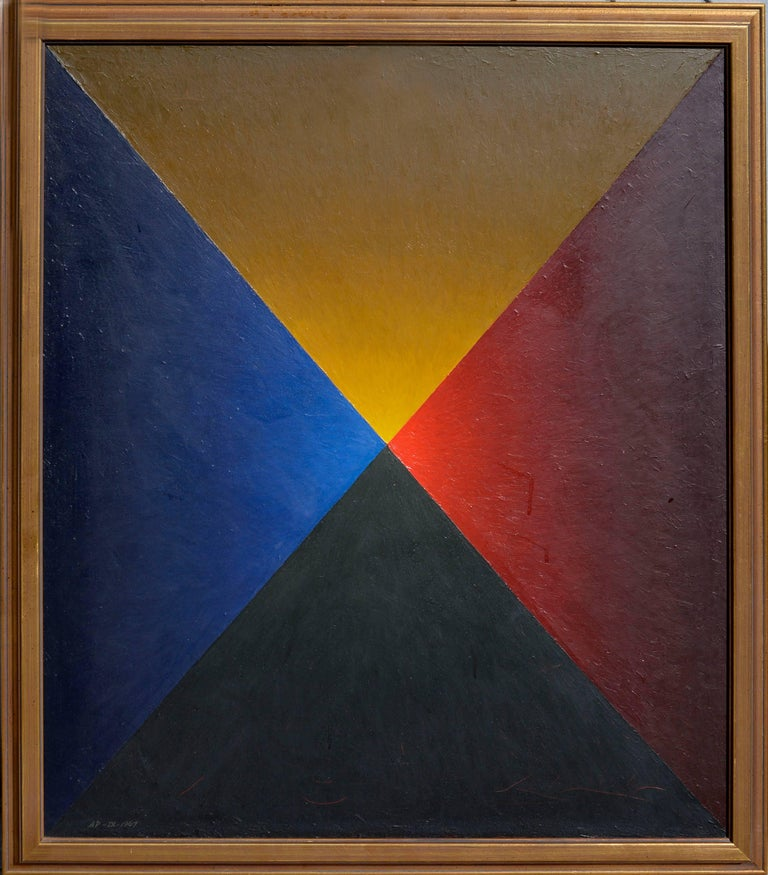 """Alan Parker Abstract Painting - """"Tetrahedron"""" - Mid Century Geometric Abstract"""