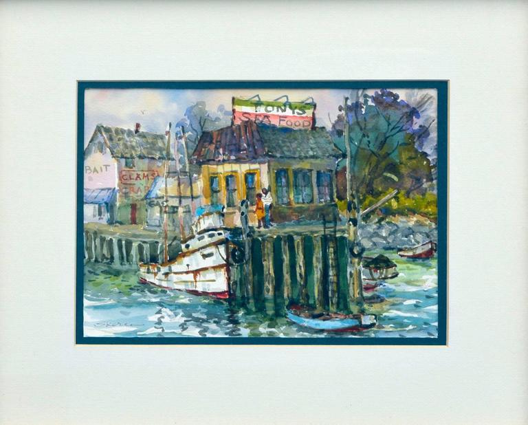 Monterey Wharf by Stephen Skerce - Painting by Stephen John Skerce