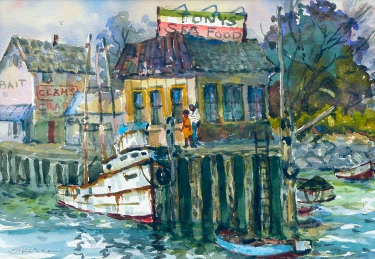 Monterey Wharf by Stephen Skerce - American Impressionist Painting by Stephen John Skerce