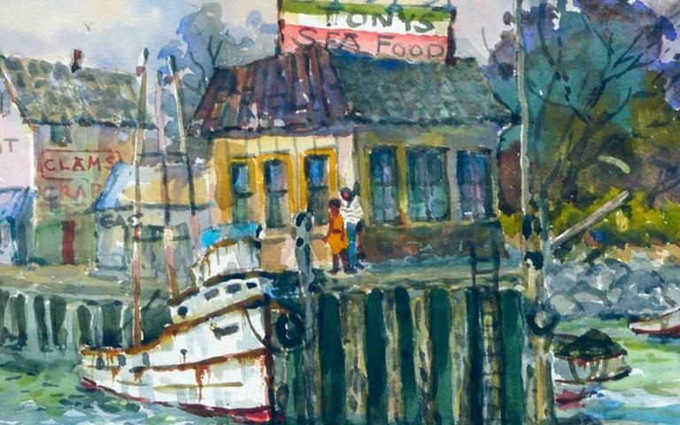 Monterey Wharf by Stephen Skerce - Beige Figurative Painting by Stephen John Skerce