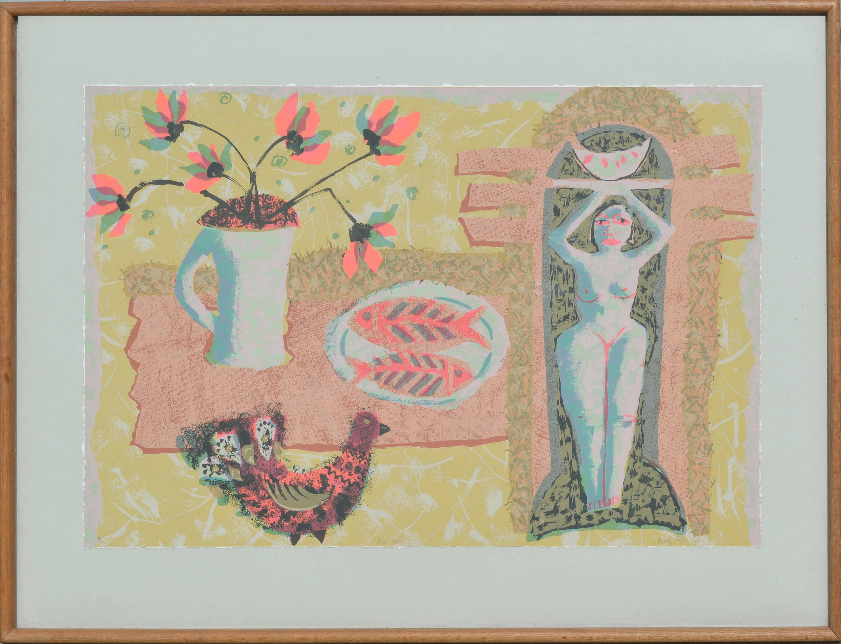 """Fish Dish""- Figurative Abstract Still-Life"