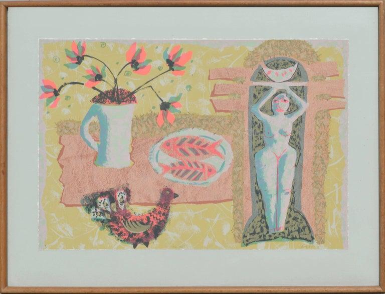 Morag Muir Abstract Print - Fish Dish, Nude Figurative