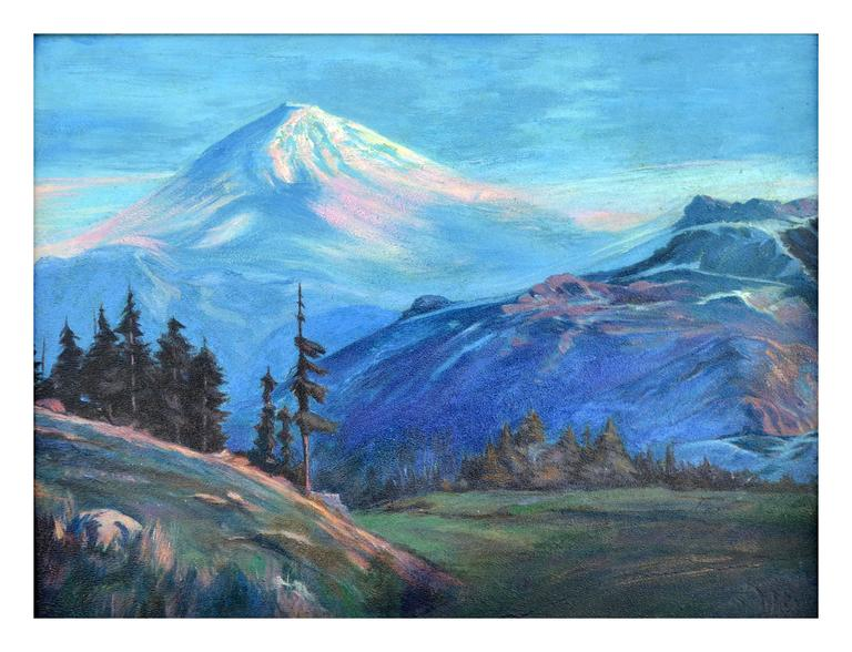 Early 20th Century Mt. Shasta Landscape - Painting by Lorenz E. Griffith