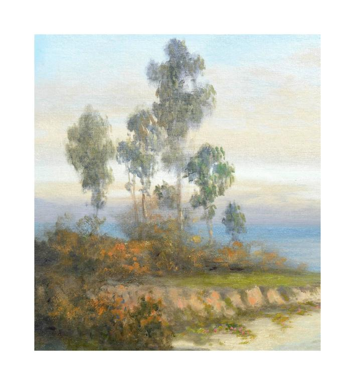 Mid Century Carmel Coast and Eucalyptus Landscape - Painting by Unknown
