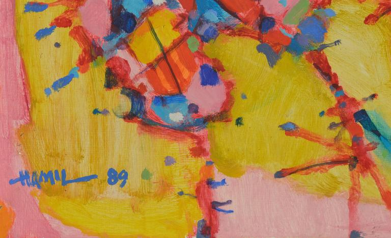 Wonderful, bright colors and painterly geometries come together in this vertical abstract expressionist painting titled