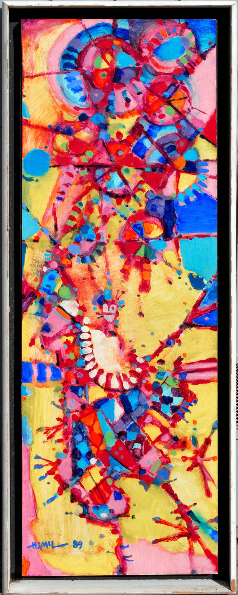 """Tom Hamil Abstract Painting - """"The Juggler"""" - Geometric Figurative Abstract Expressionist"""