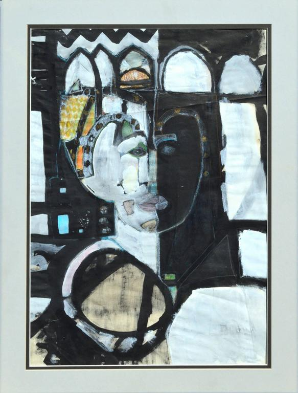 Faces of The Queen Abstracted Figurative - Painting by Unknown