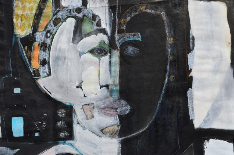 Faces of The Queen Abstracted Figurative - Abstract Expressionist Painting by Unknown