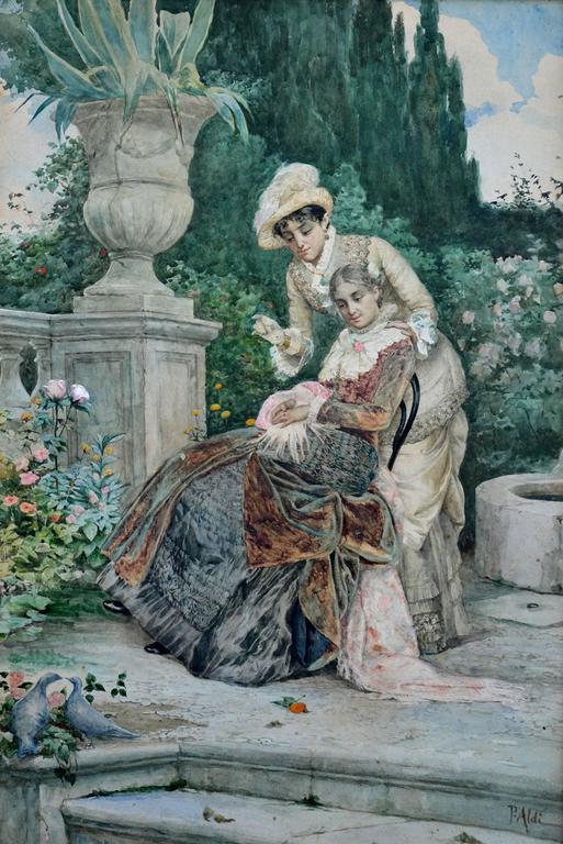 pietro aldi 1890s ladies in the italian garden painting