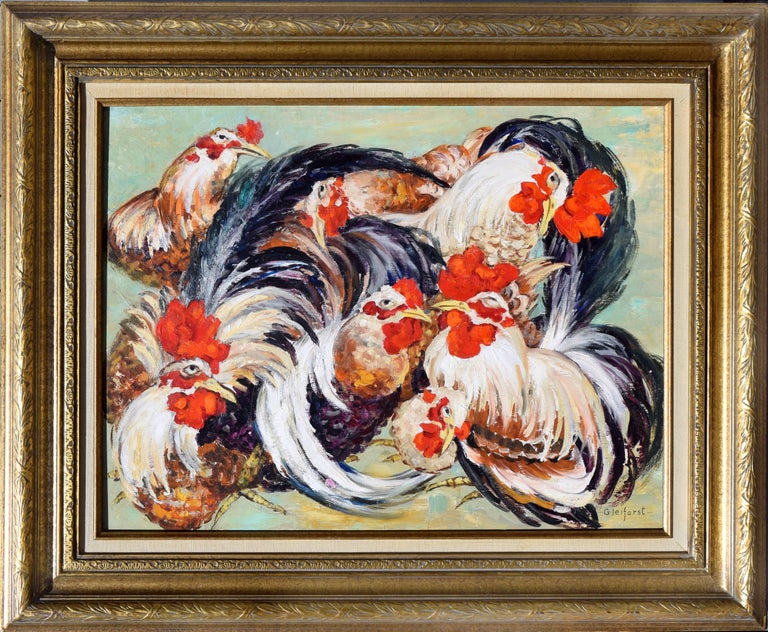 Helen Gleiforst Figurative Painting - Le Coq Gaulois, French Roosters