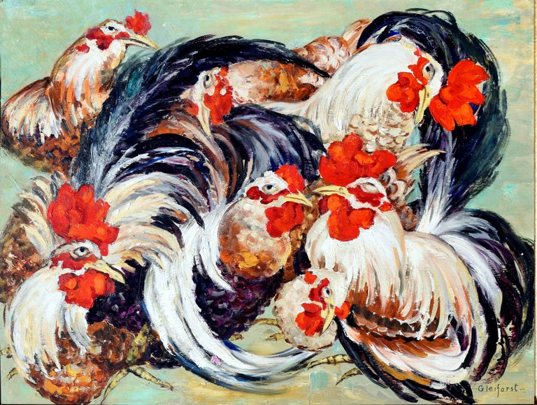 Le Coq Gaulois, French Roosters - Painting by Helen Gleiforst