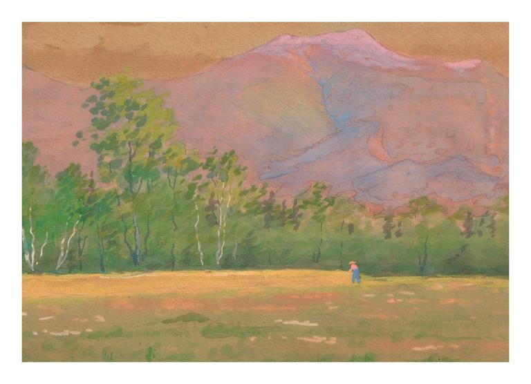 Late 19th Century Adirondack Mountains, New York Landscape - American Impressionist Painting by Susan Field Bissell