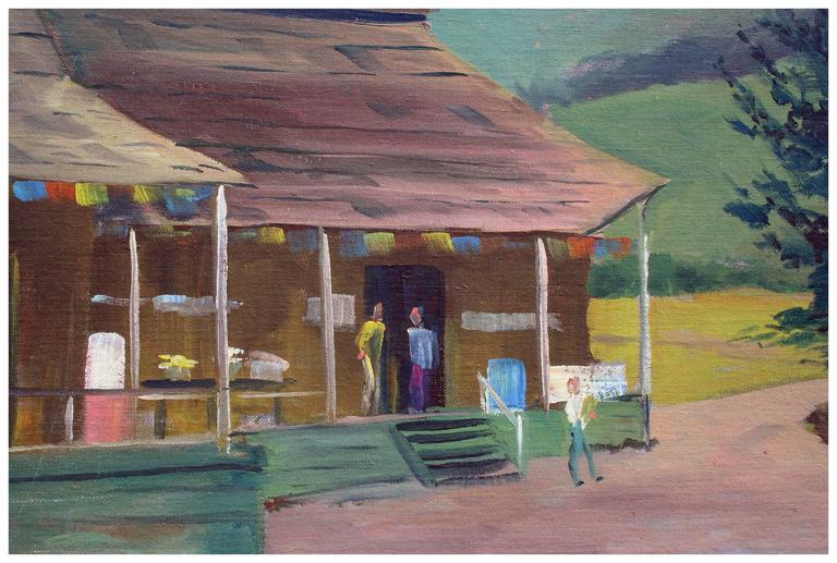 Mid Century Aptos Village Apple Shed and Market - Painting by Jon Blanchette