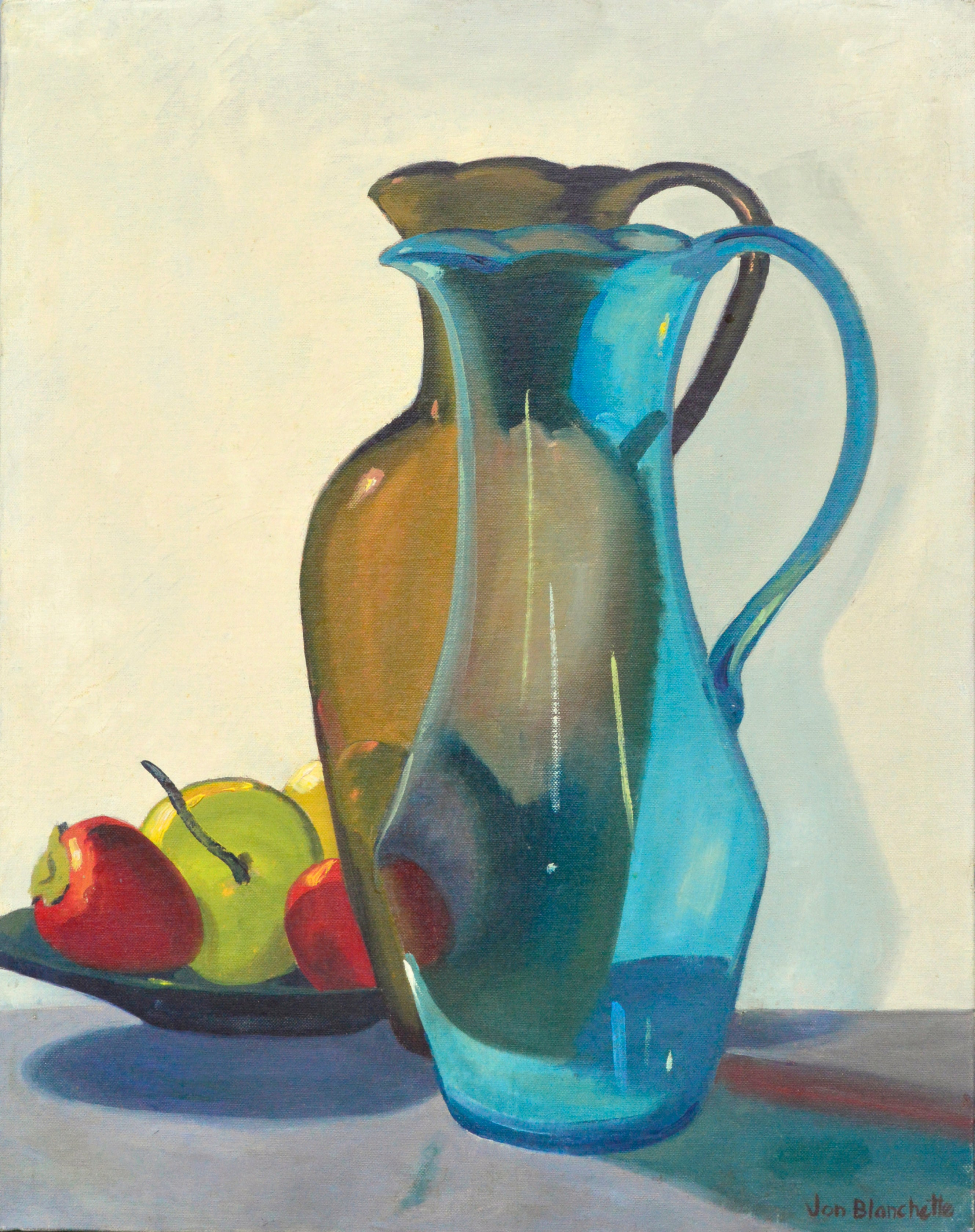 Mid Century Modern Still Life -- Two Pitchers and Fruit