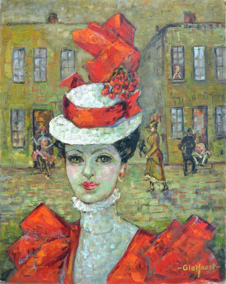 Lady in Red Hat, Paris - Painting by Helen Enoch Gleiforst