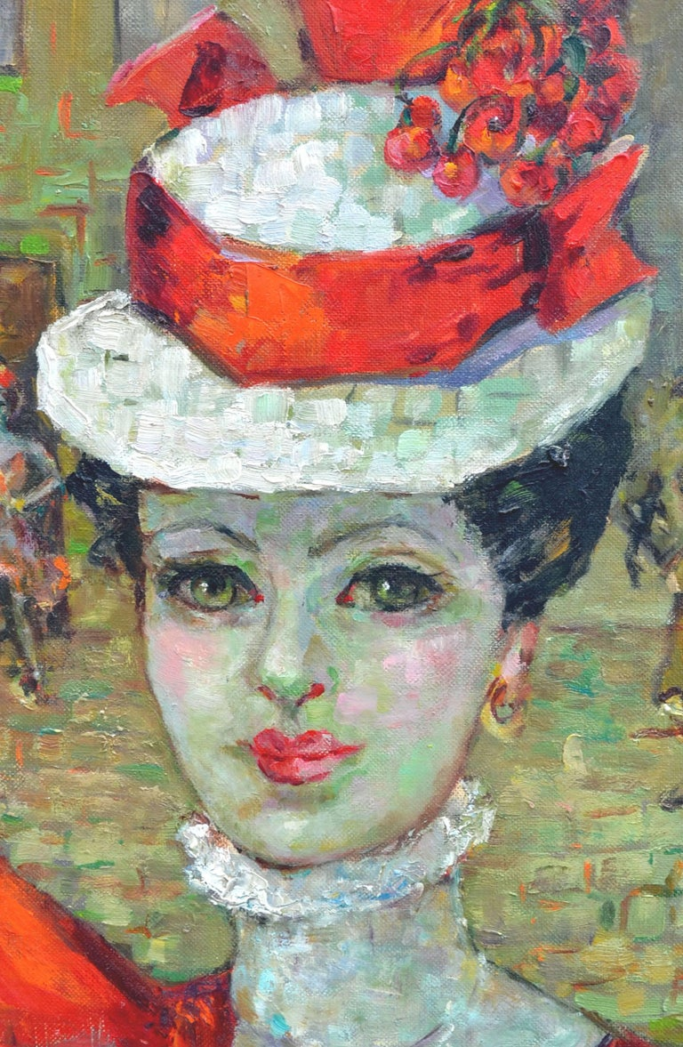 Lady in Red Hat, Paris - Impressionist Painting by Helen Enoch Gleiforst