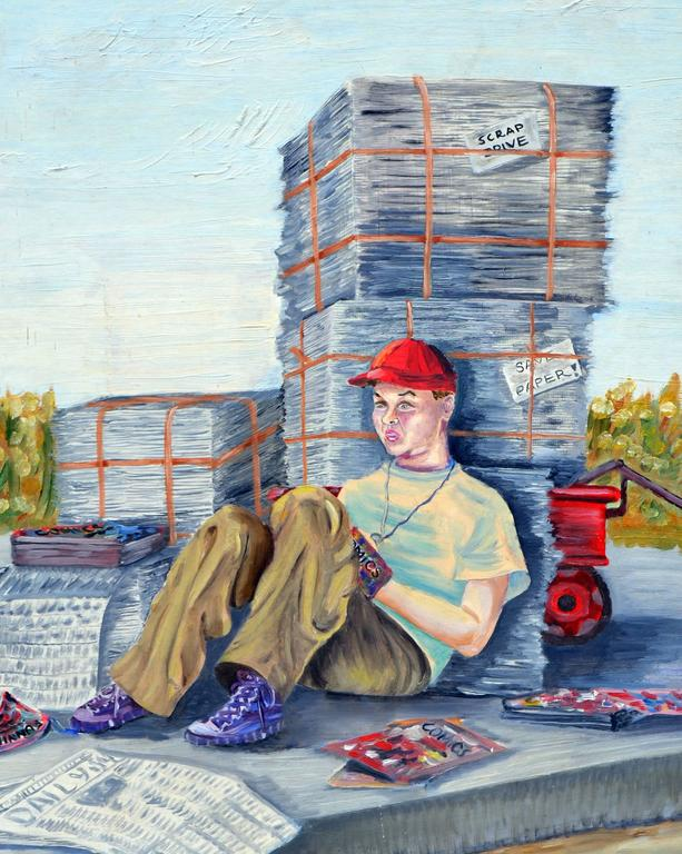 The Paper Boy and His Comics Figurative by Louise Miller Clark For Sale 1