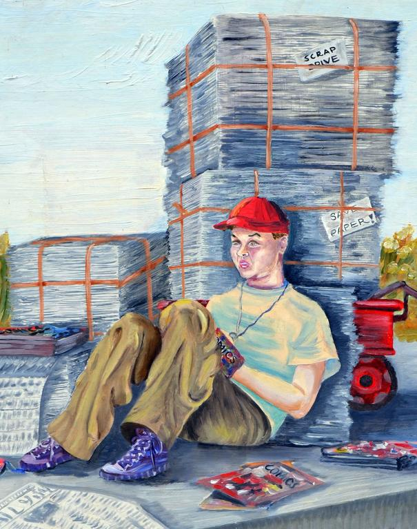 The Paper Boy and His Comics Figurative by Louise Miller Clark For Sale 2