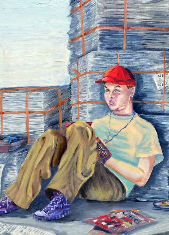 The Paper Boy and His Comics Figurative by Louise Miller Clark For Sale 3