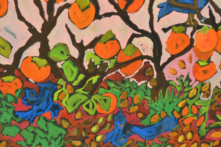 Persimmons and Blue Jays - Painting by Laurie Zeszut