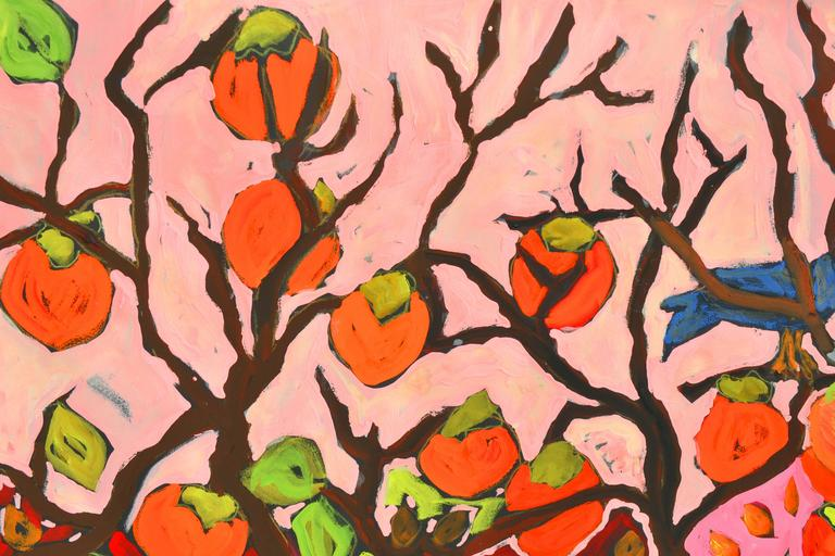 Persimmons and Blue Jays - American Impressionist Painting by Laurie Zeszut