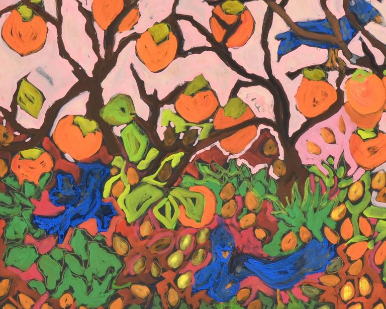 Persimmons and Blue Jays - Beige Landscape Painting by Laurie Zeszut