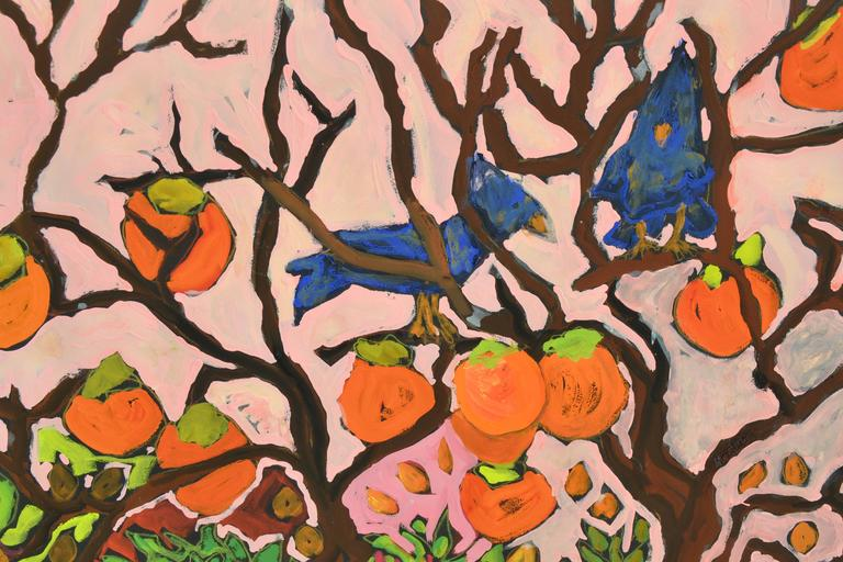 Garden wonder of Persimmons and Blue Jays, acrylic on paper. Image 30