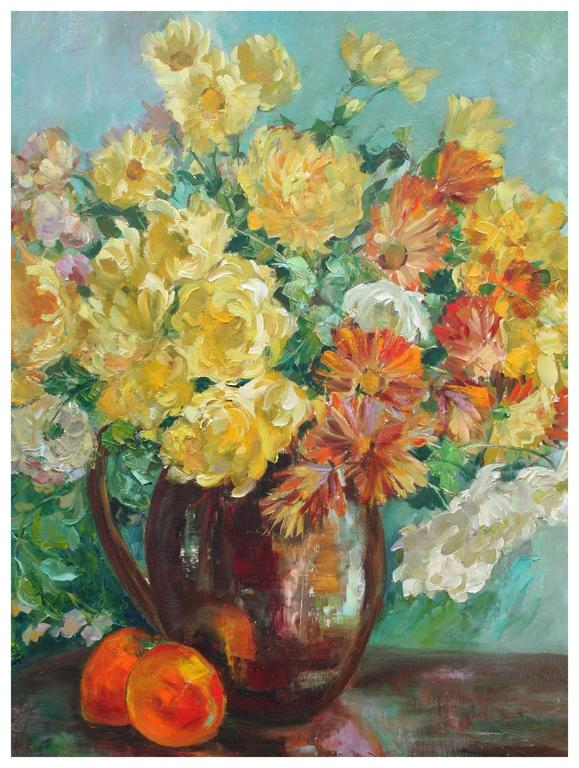 Yellow Roses and Cosmos Still Life - Painting by Helen Enoch Gleiforst