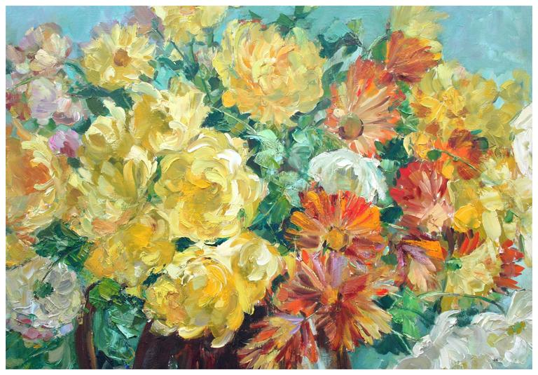 Yellow Roses and Cosmos Still Life - American Impressionist Painting by Helen Enoch Gleiforst