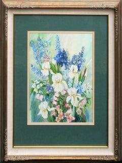 White Iris Bouquet - Mid Century Floral Still Life
