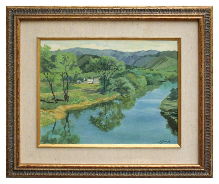 Dale Logan Hill Landscape Painting - Mid Century Carmel River Landscape