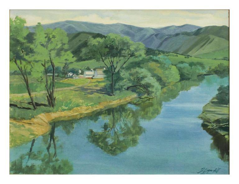 Mid Century Carmel River Landscape - Painting by Dale Logan Hill