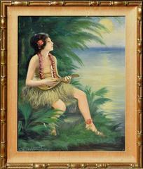 Hawaiian Girl and Ukulele