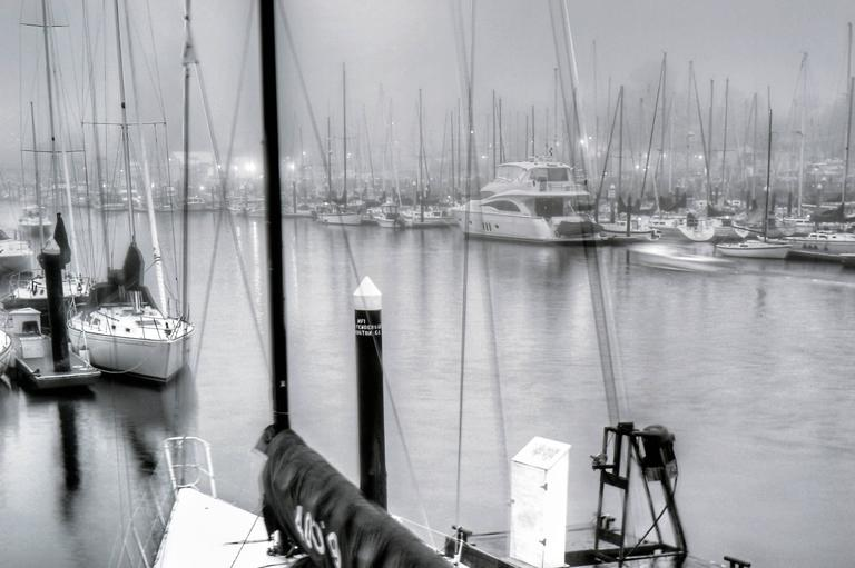 Foggy Harbor, Santa Cruz  - American Realist Photograph by Richard Singer