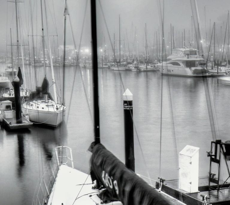 Foggy Harbor, Santa Cruz  - Gray Landscape Photograph by Richard Singer