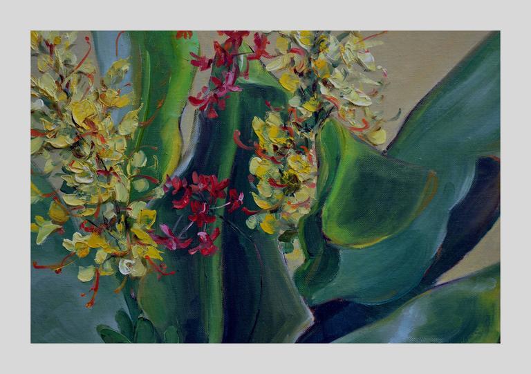 Mid Century Tropical Bonsai Still Life - Painting by Helen Enoch Gleiforst