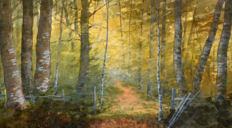 Turn of Century Birch Forest Glow Suffolk County, New York Landscape - Brown Landscape Painting by Susan Field Bissell