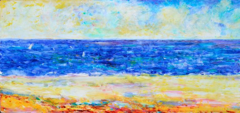 Northern California Coastlands - Brown Abstract Painting by John Faulkner
