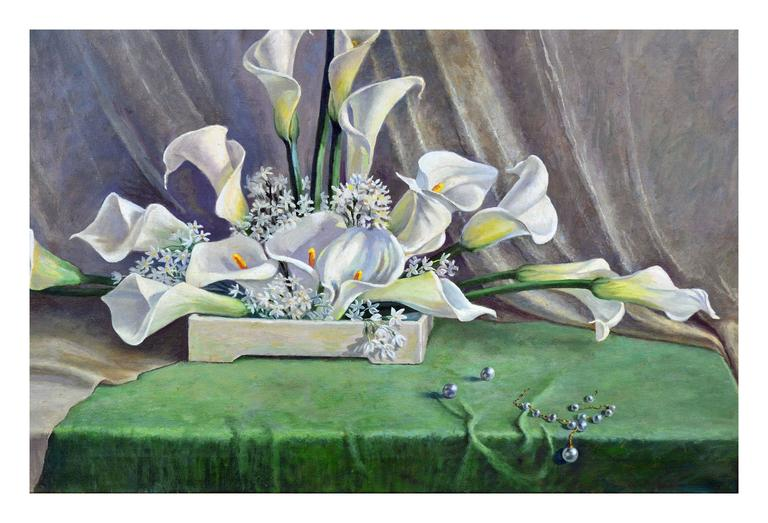 1930's Calla Lilies Still Life - Painting by Rose Campbell