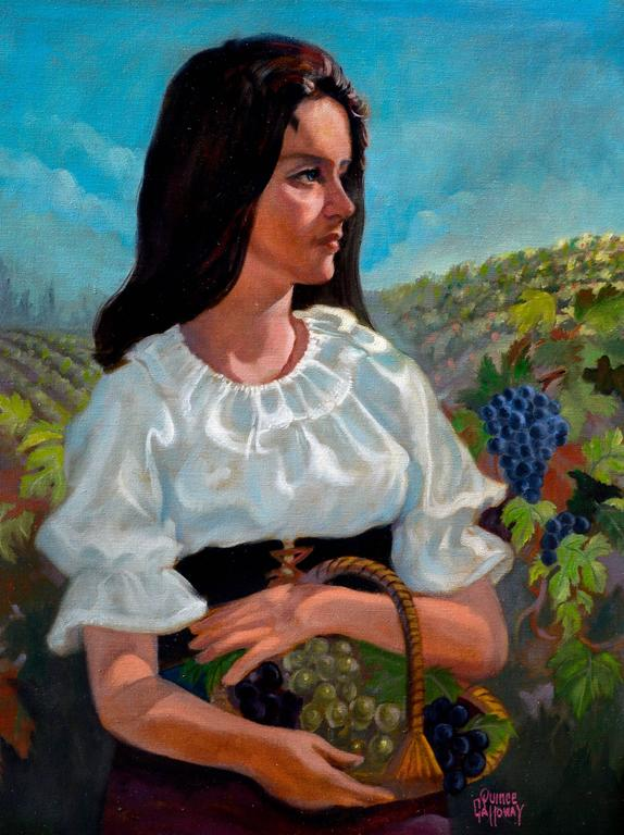 Woman in the Vineyards - Napa California Figurative Landscape  - Painting by Quince Galloway